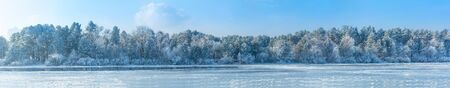winter landscape, trees in the frost . the image is made up of many photos