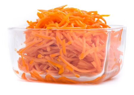 Marinaded Korean style carrots in a glass bowl
