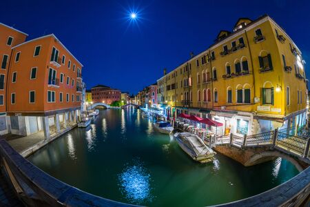 Venice, Italy - MAY 16, 2019: The magical view of Venice at full moon night