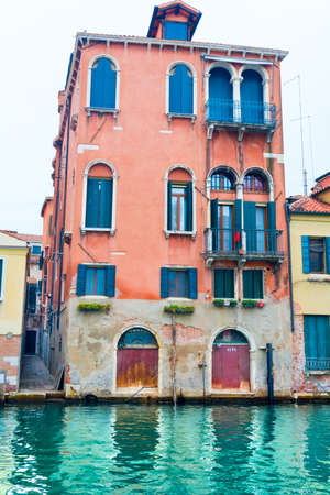 Venice, Italy - OCT 01, 2018: Wonderful corner of Venice with a canal and old houses