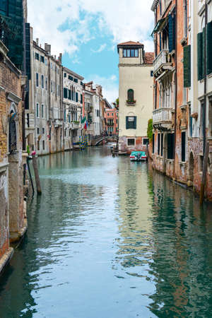Venice, Italy - OCT 01, 2018: Picturesque view of Venice with famous water canal and colorful houses. Splendid morning scene in Italy, Europe. Éditoriale