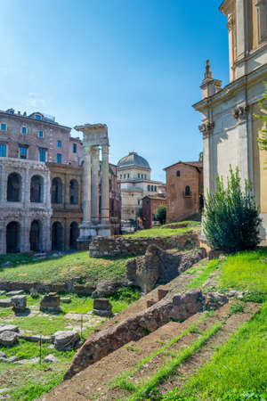 Rome, Italy - Oct 03, 2018: View Templi di Apollo Sosiano e di Bellona