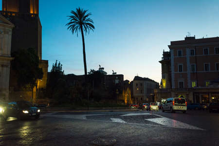 Rome, Italy - Oct 03, 2018: Night view of Torre delle Milizie - The Militia Tower in Rome