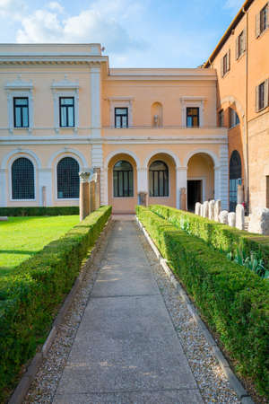 Rome, Italy - Oct 02, 2018: Park Alley with Colossal Vase - Historical Monument of Rome