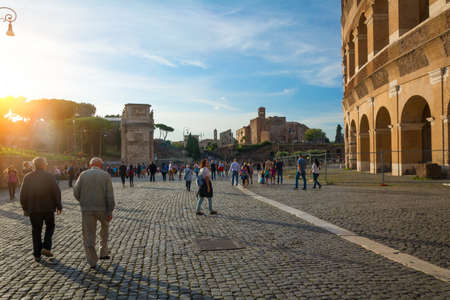 Rome, Italy - Oct 02, 2018: Tourists are walking around the Colosseum, the tourist center of Rome. Éditoriale