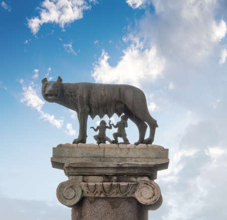 Rome, Italy - Oct 03, 2018: Silhouette of the legendary she-wolf who nurtured Romulus and Rem