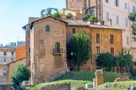 Rome, Italy - Oct 03, 2018: Nice old buildings of Rome near the Templi di Apollo Sosiano e di Bellona Éditoriale