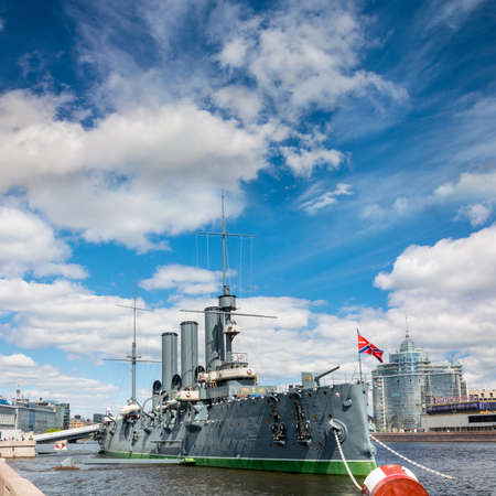 ST. PETERSBURG, RUSSIA - MAY 30, 2017: The legendary cruiser Aurora is a monument to the revolution in St. Petersburg, Russia