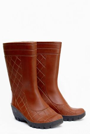 rubber boots, brown on white background isolated Stock Photo - 9974747