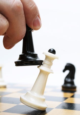 game plan: Shows chess on chess board Stock Photo