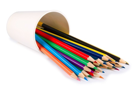 pencil holder: A stack of colored pencils on white background