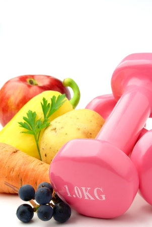 aerobic exercise: pink dumbbells fitness on a white background