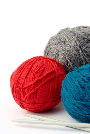 fleece: ball of thread and needles for knitting on a white background