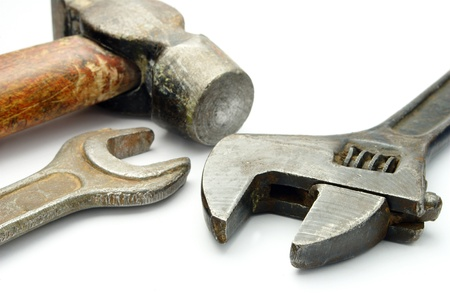 forkwrench: hammer and two wrenches on a white background