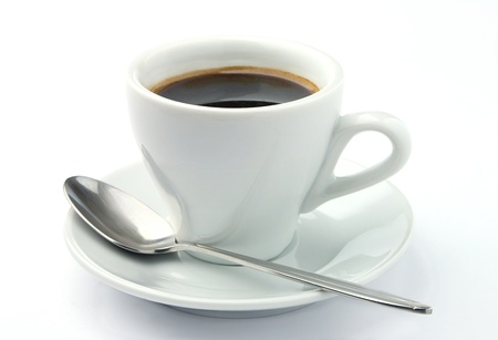 white cup of coffee on a white background Stock Photo