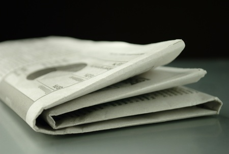 press media: Morning crumpled newspaper on the table