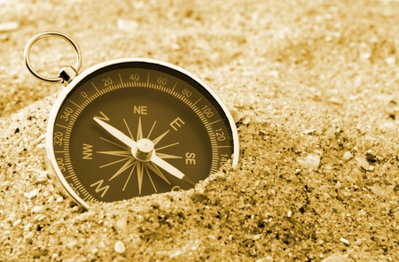 azimuth: The compass showing a direction, lies on sea sand