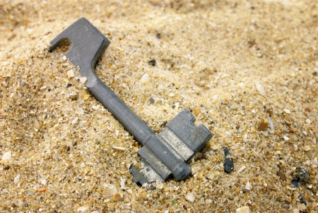 The old key which has been filled up by sand