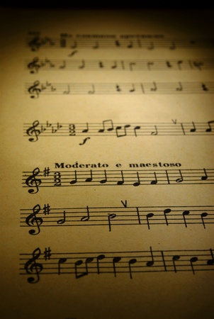 sonata: musical notes on the pages of an old paper