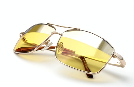 protective spectacles: glasses for night driving on a white background