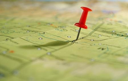 mapa geográfico y marcó el lugar en su virada