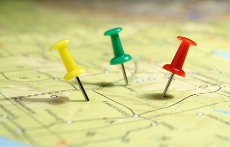 travel location: geographical map and marked the place on her tack