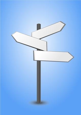 leading the way: signpost, in tre parti, indica la direzione Vettoriali