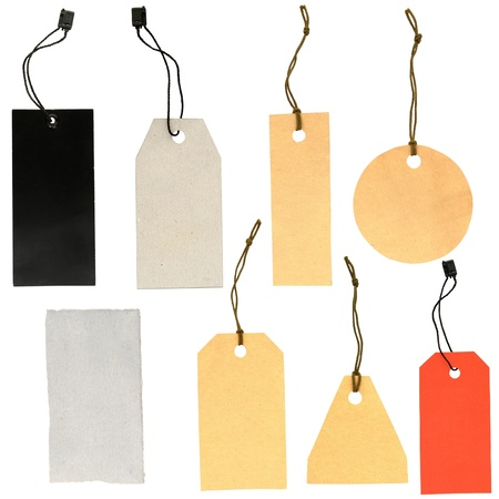 paper tags: set of labels of various shapes on a white background Stock Photo