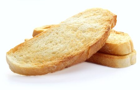 sliced bread: Toast on a white background, close-up