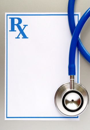 stethoscope and a prescription form, and space for your message photo