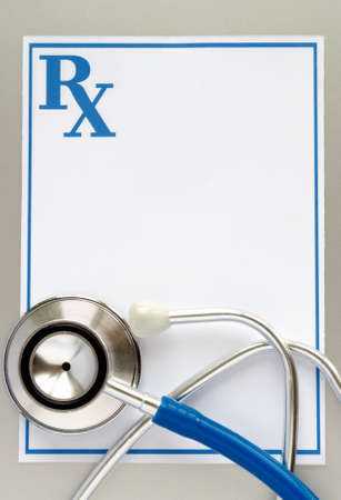 stethoscope and a prescription form, and space for your message Stock Photo - 14867284