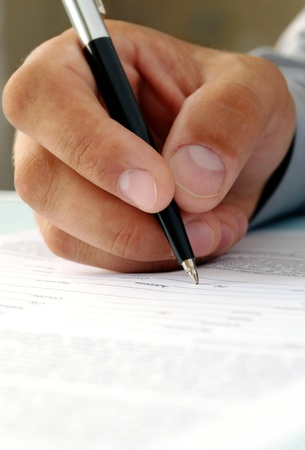 entries: the hand of the man does entries in official papers