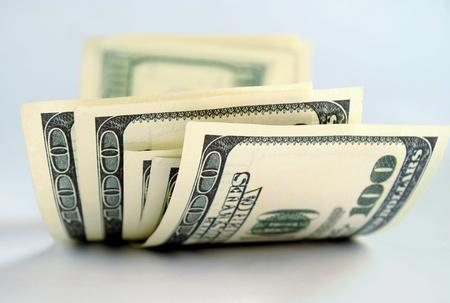 dolar: Dinero americano, billetes de banco de cien dólares
