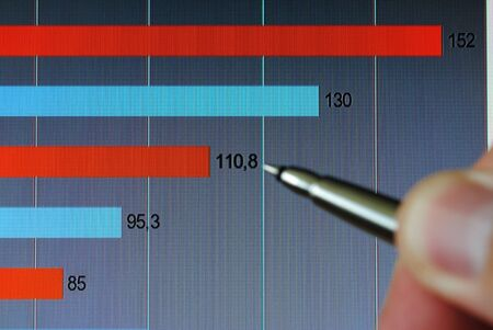 Pointing at financial analysis graph on computer monitor with pen photo
