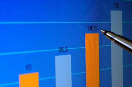 Pointing at financial analysis graph on computer monitor with pen Stock Photo - 14867321