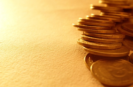 banking concept: stacks of coins with numbers on documents