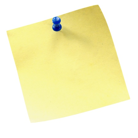 sheet of paper for notes and pushpin on a white background photo