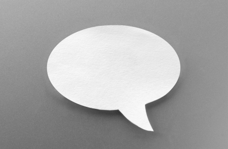 one speech bubbles on gray background photo
