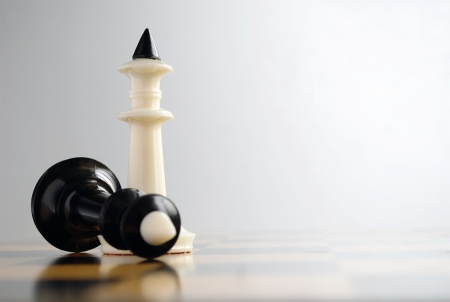 chess pieces on the board during the game Stock Photo