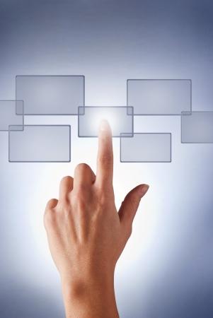hand presses the virtual button girl Stock Photo - 17163577