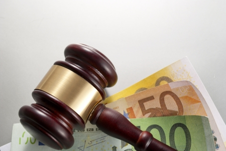 gavel and euro  on a gray gradient background Stock Photo - 17163585