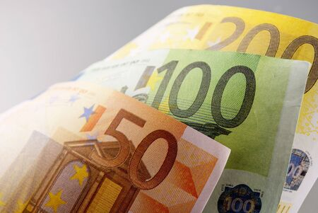 Euro, European Union money on a gray background Stock Photo - 17163650