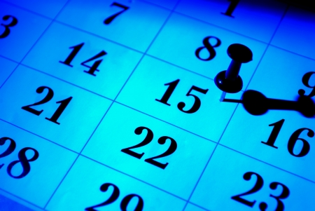 yesterday: Calendar lit with creative blue, close-up shot Stock Photo