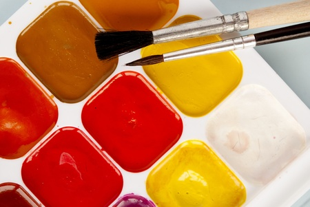 set of watercolor paints and brushes for painting Stock Photo - 17962611