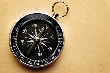 compass indicates the direction of movement and the old paper background photo