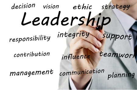 necessary: Businessman writes the names of qualities necessary for a leader
