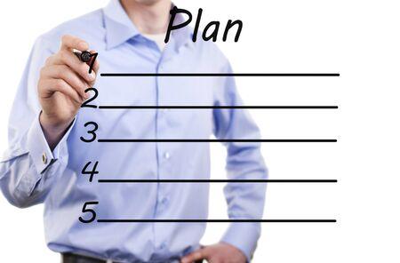 plan de accion: joven hombre de negocios del plan de acci?n Foto de archivo