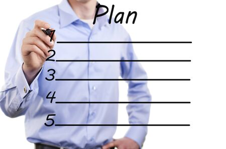 young business man of action plan