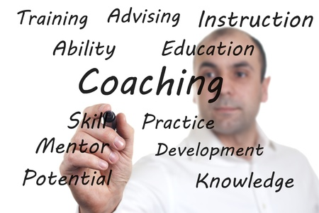 relating: man wrote the words on the screen relating to coaching Stock Photo