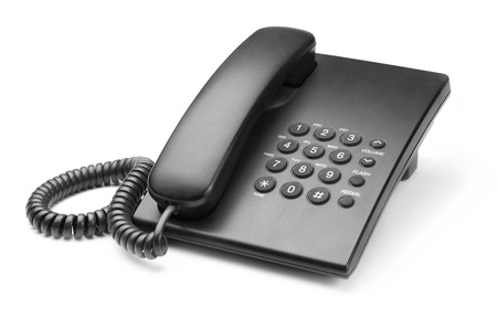 telephone receiver: black phone with buttons on a white background